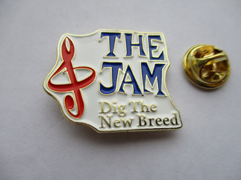 THE JAM dig the new breed MOD METAL BADGE (white/gold)