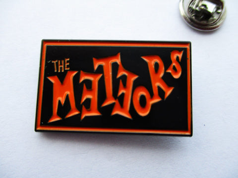 THE METEORS psychobilly punk METAL BADGE - Black/orange few only