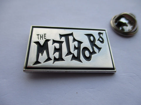 THE METEORS psychobilly punk METAL BADGE - SILVER few only