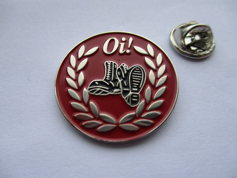 OI! BOOTS / LAUREL WREATH (red) oi! PUNK METAL BADGE