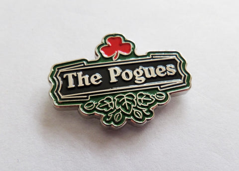 THE POGUES shamrock logo FOLK PUNK METAL BADGE few only