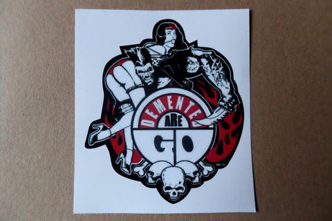 DEMENTED ARE GO psychobilly PUNK VINYL STICKER - Savage Amusement