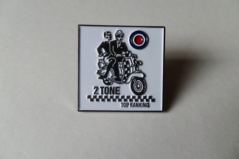 2 TONE TOP RANKING SKA METAL BADGE - Savage Amusement