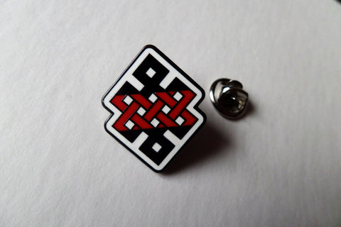 THROBBING GRISTLE celtic logo INDUSTRIAL PUNK METAL BADGE ultra limited - few only!