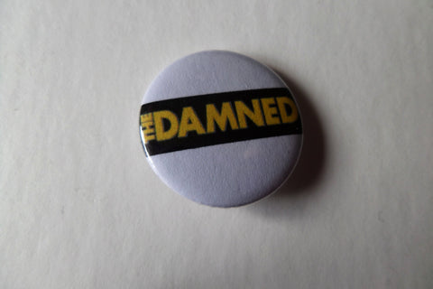 THE DAMNED yellow logo punk badge