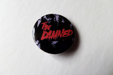 THE DAMNED band pic/red logo punk badge