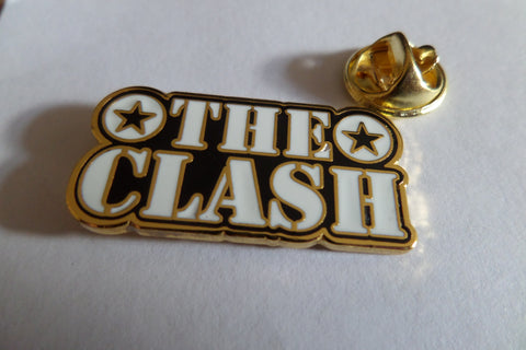 THE CLASH gold/b&w stencil logo PUNK METAL BADGE - Savage Amusement