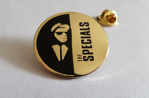 THE SPECIALS gold SKA 2tone METAL BADGE - Savage Amusement