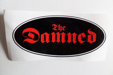 THE DAMNED large oval shape PUNK VINYL STICKER - Savage Amusement