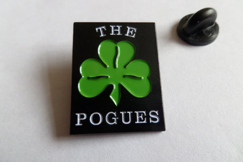 THE POGUES traditional logo/shamrock (black) EMBOSSED FOLK PUNK METAL BADGE - Savage Amusement
