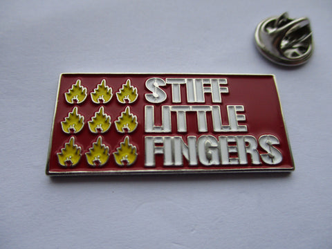 STIFF LITTLE FINGERS red PUNK METAL BADGE very few
