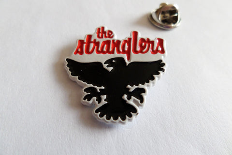 THE STRANGLERS raven white embossed PUNK METAL BADGE