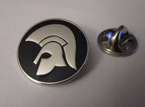 TROJAN HELMET small silver embossed SKA METAL BADGE oi! skinhead