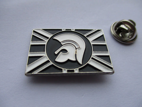 TROJAN UNION JACK b&w/silver SKA METAL BADGE
