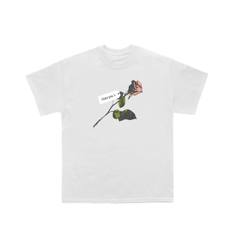 I Hate You Rose Tee (White)