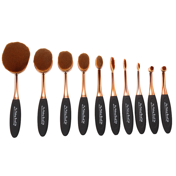 10 Piece Black and Gold Oval Brush Set ,  - My Make-Up Brush Set, My Make-Up Brush Set  - 5
