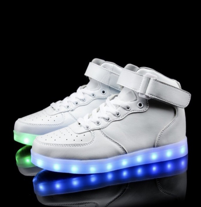 separation shoes dbfb8 09c86 White Leather LED Light Up Shoes (Hi-Tops) by RAVE KIXX – Rave Kixx