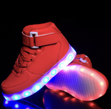 Kids RED LED Hi-TOPS by RAVE KIXX