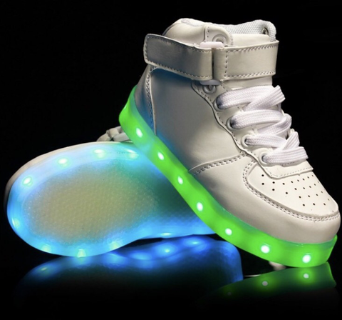 Kids WHITE LED Hi-Tops by RAVE KIXX!!