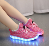 Kids LED Light Up shoes (NEON PINK)! By Rave KIXX!!Hottest Style of 2016-17.