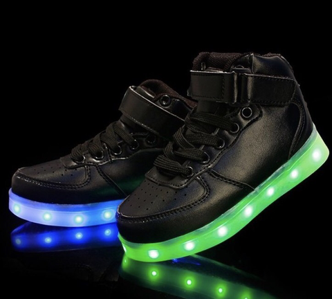 Kids BLACK LED Hi-Tops by RAVE KIXX