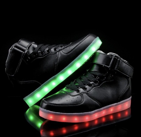 Black LED Light Up Shoes (Hi-Tops) by RAVE KIXX