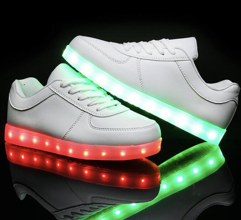Kids WHITE LED Low-Tops by RAVE KIXX