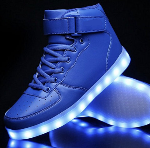 BLUE LED Light Up Shoes (Hi-Tops) by RAVE KIXX