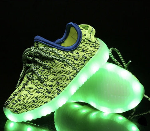 Kid's LED Light UP shoes! (Neon Green/YELLOW)