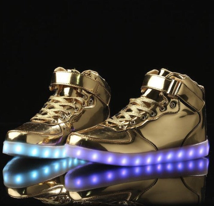 Gold/ Chrome LED Light Up Shoes (Hi-Tops) by RAVE KIXX