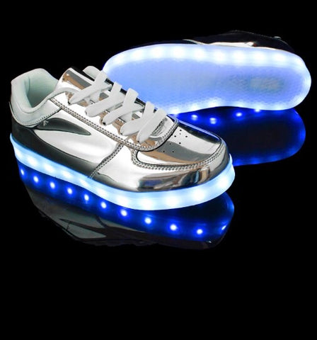 Silver Chrome LED Low-Tops by RAVE KIXX