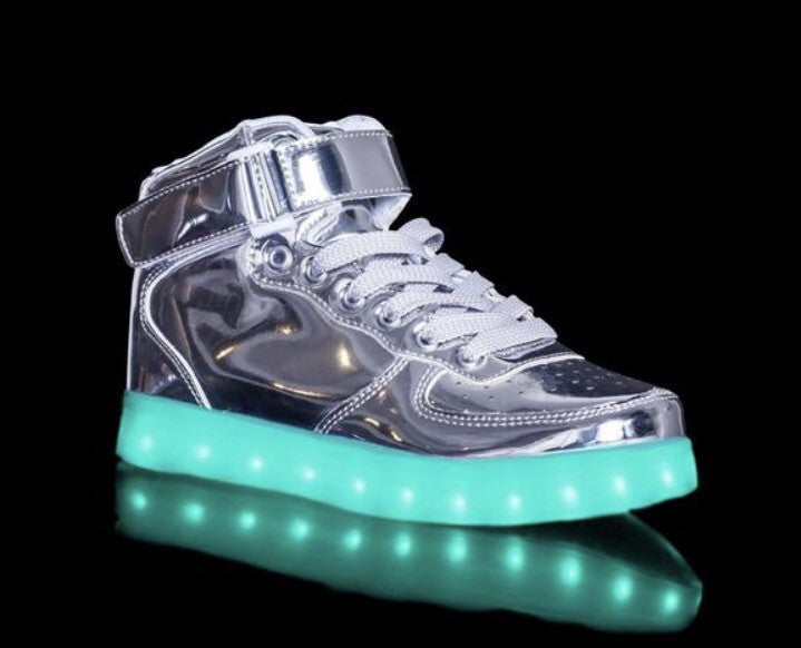 Chrome/Silver LED Light Up Shoes (Hi-Tops) by Rave KIXX!!