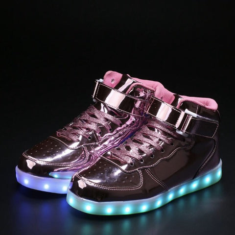 PINK CHROME LED Hi-Tops by Rave KIXX!!