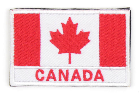 "Canadian Flag Velcro Morale Patch with ""Canada"" Text"