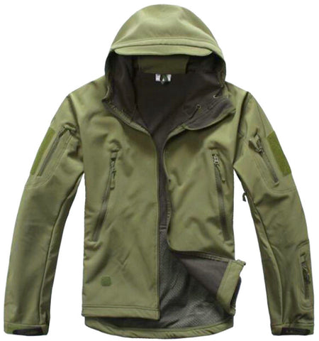 Soft Shell Military-Style Jacket With Velcro Arm Patches
