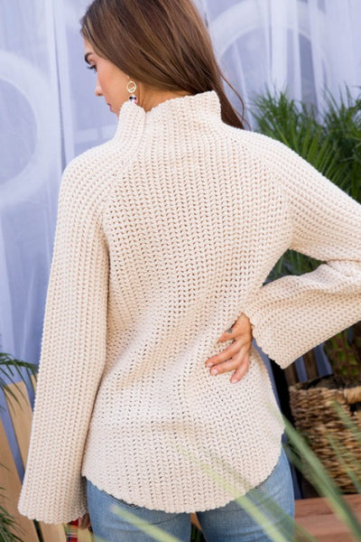 Mock Neck Long Sleeve Hi-Lo Sweater