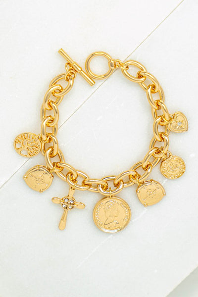 Coin And Cross Charm Bracelet
