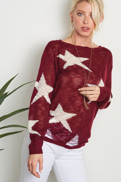 Star Lightweight Distressed Sweater