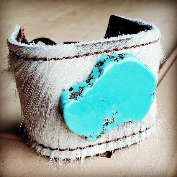 Turquoise Leather Cow Hide Tie Cuff