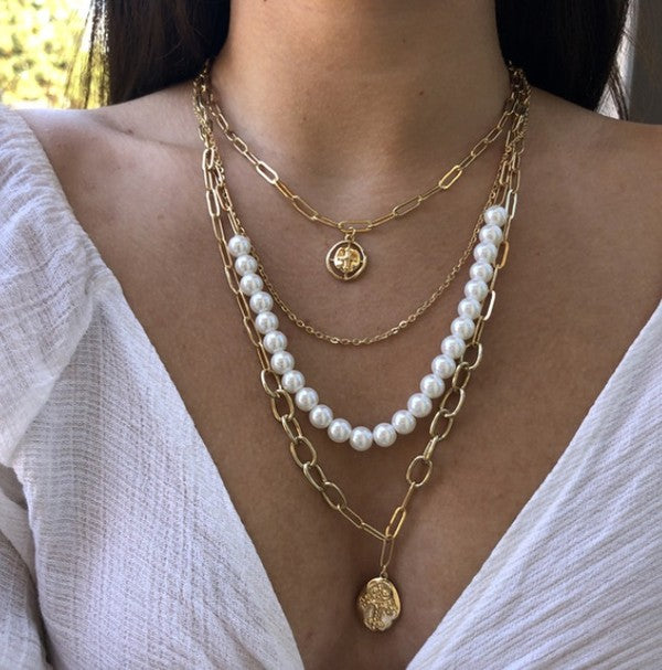 Multi Layered Pearl Choker Cross Necklace