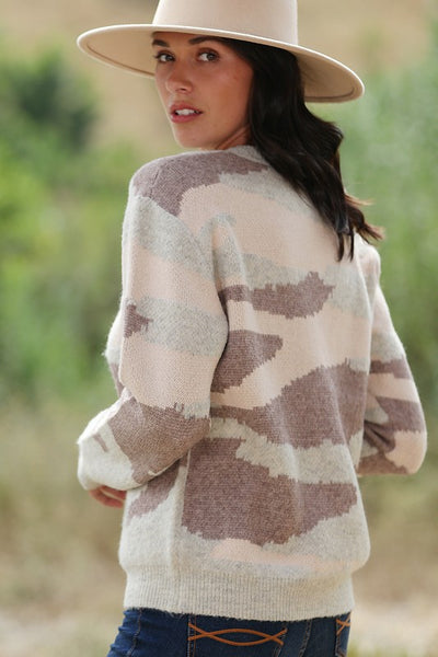 SUPER SOFT DESERT CAMOUFLAGE KNITTED SWEATER
