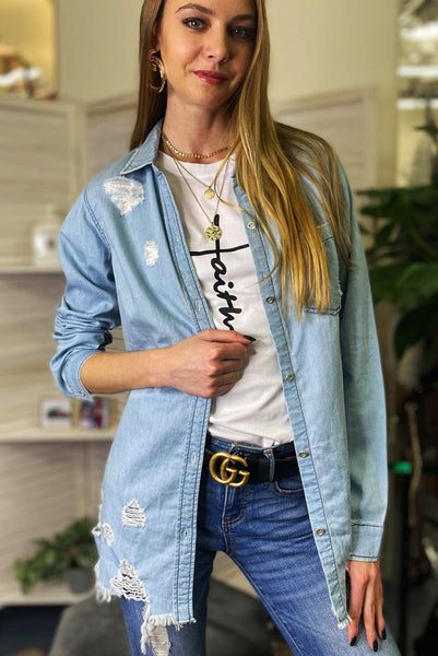 Light Denim Distressed Shirt