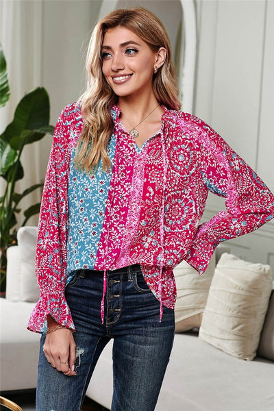 Rose Split Neck Printed Blouse