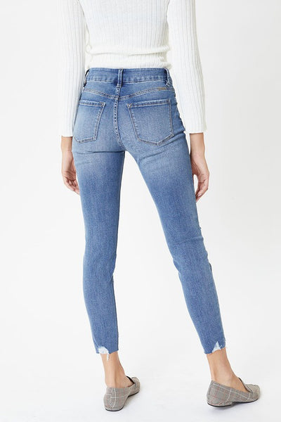 KanCan Mid Rise Button Fly Ankle Skinny Jean