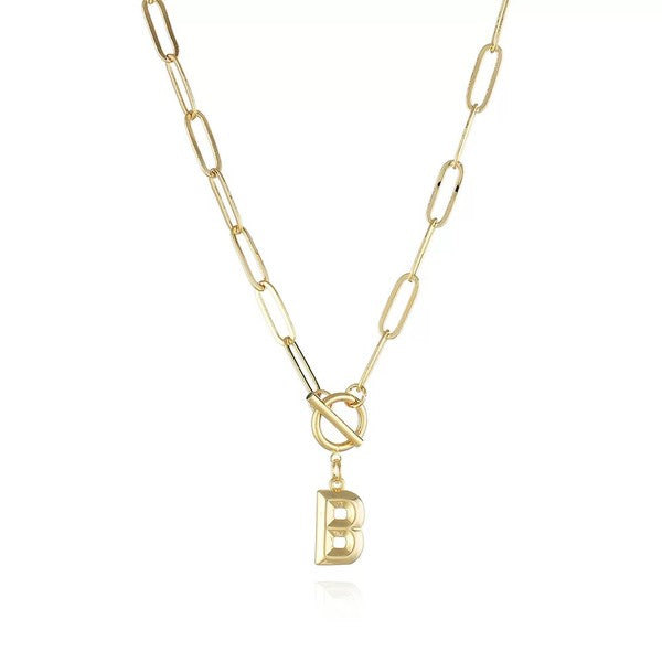 Gold Chain Link Initial Necklace