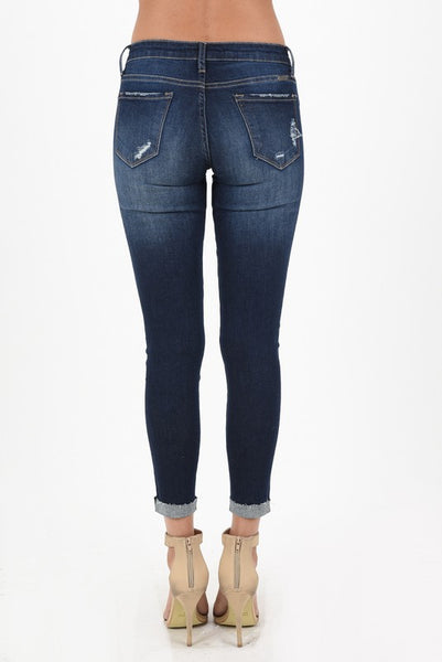 KanCan Mid Rise Ankle Skinny Stretch Jeans - Snazzies INC