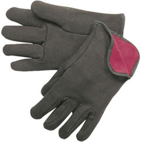 Cotton Jersey Gloves (Red Fleece Lined, Open Wrist)