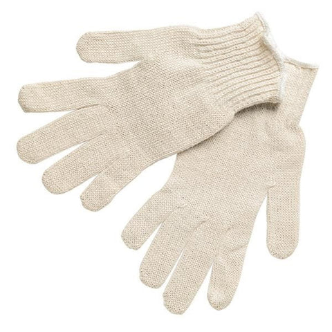 7 Gauge Economy Weight String Knit Gloves, Natural Cotton/Polyester, Hemmed