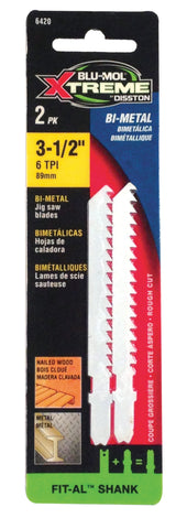 "Blu-Mol Extreme Carbon Jig Saw Blade, Universal Shank, Wood, Smooth (6406), 2 3/4"" (70 mm), 2/Pkg"