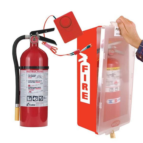 5 lb ABC Pro Line Fire Extinguisher w/ Mark I Jr. Cabinet, Red Tub/Clear Cover, and Cabinet Alarm, Red